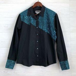 Panhandle Slim Black Teal Sequin Snap Button Shirt